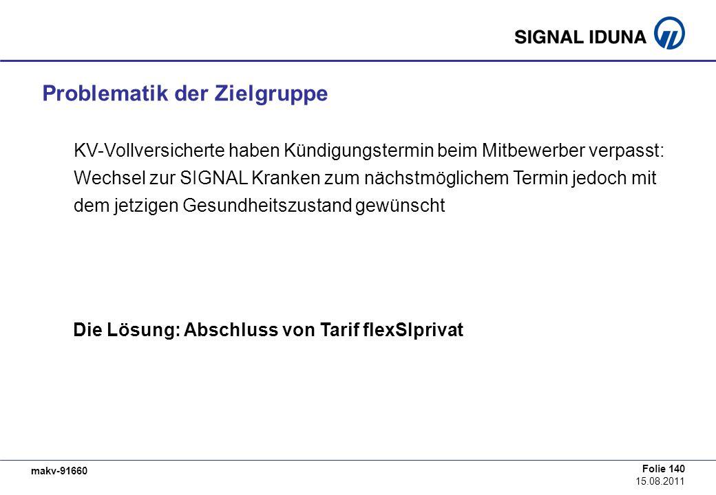 makv-91660 Folie 140 15.08.2011 Die Lösung: Abschluss von Tarif flexSIprivat Problematik der Zielgruppe KV-Vollversicherte haben Kündigungstermin beim
