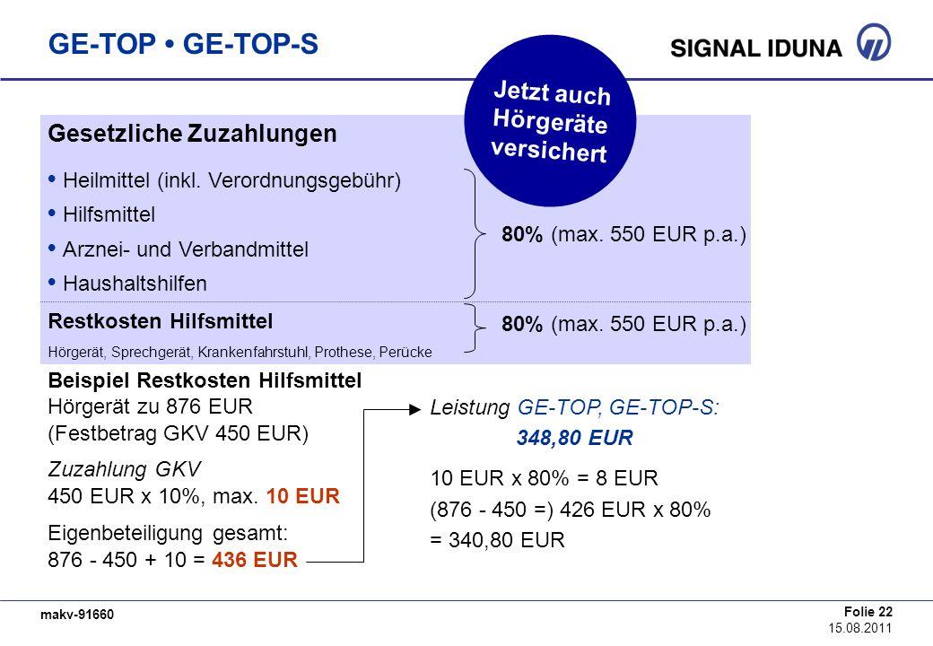 makv-91660 Folie 22 15.08.2011 GE-TOP GE-TOP-S Gesetzliche Zuzahlungen Heilmittel (inkl. Verordnungsgebühr) Hilfsmittel Arznei- und Verbandmittel Haus