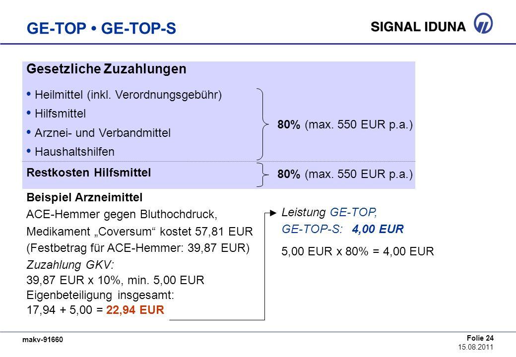 makv-91660 Folie 24 15.08.2011 GE-TOP GE-TOP-S Gesetzliche Zuzahlungen Heilmittel (inkl. Verordnungsgebühr) Hilfsmittel Arznei- und Verbandmittel Haus