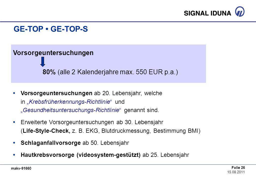 makv-91660 Folie 26 15.08.2011 GE-TOP GE-TOP-S Vorsorgeuntersuchungen Vorsorgeuntersuchungen ab 20. Lebensjahr, welche in Krebsfrüherkennungs-Richtlin