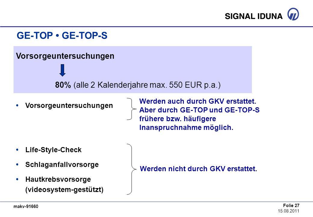makv-91660 Folie 27 15.08.2011 GE-TOP GE-TOP-S Vorsorgeuntersuchungen Life-Style-Check Schlaganfallvorsorge Hautkrebsvorsorge (videosystem-gestützt) 8
