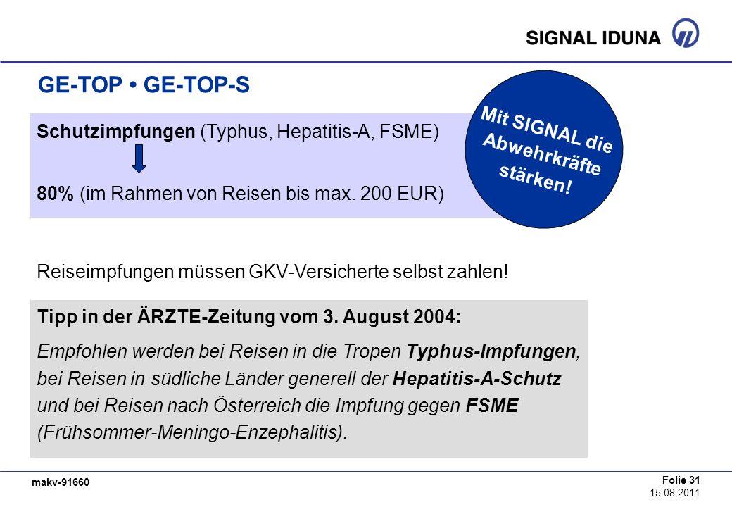 makv-91660 Folie 31 15.08.2011 GE-TOP GE-TOP-S Schutzimpfungen (Typhus, Hepatitis-A, FSME) 80% (im Rahmen von Reisen bis max. 200 EUR) Reiseimpfungen