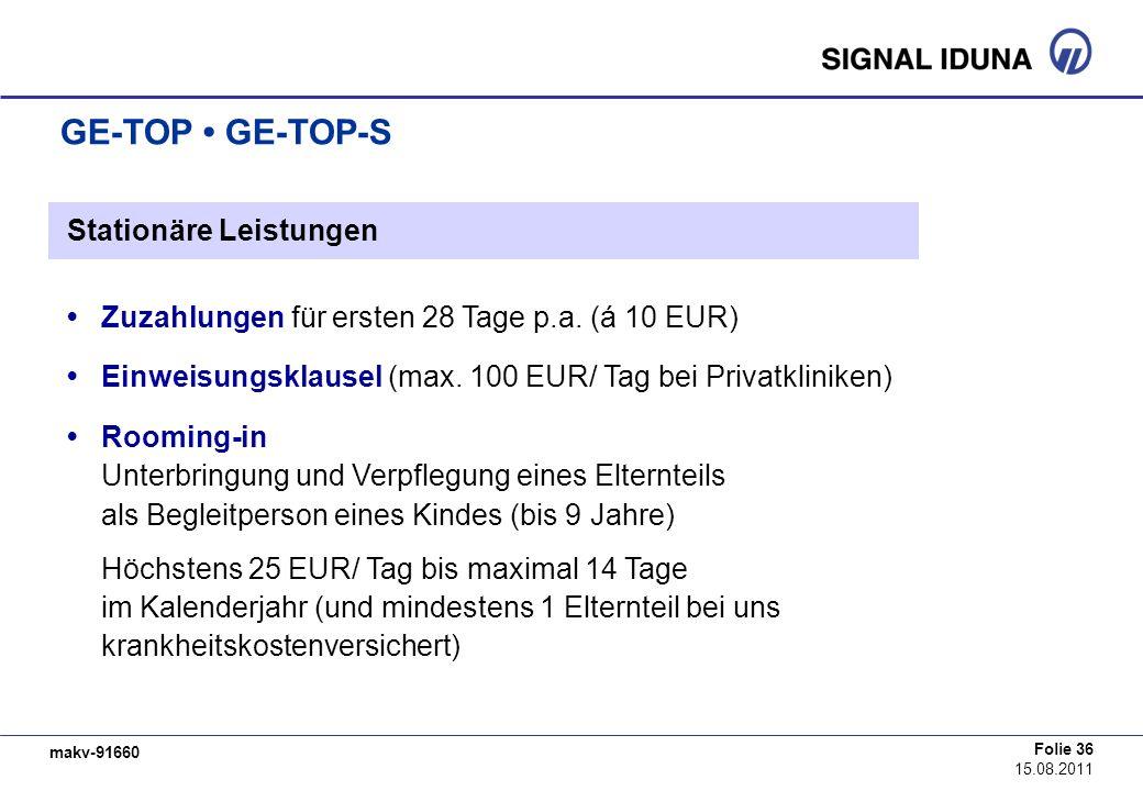 makv-91660 Folie 36 15.08.2011 GE-TOP GE-TOP-S Stationäre Leistungen Zuzahlungen für ersten 28 Tage p.a. (á 10 EUR) Einweisungsklausel (max. 100 EUR/