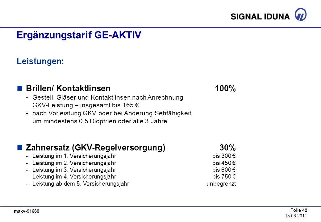 makv-91660 Folie 42 15.08.2011 Ergänzungstarif GE-AKTIV Leistungen: Brillen/ Kontaktlinsen100% -Gestell, Gläser und Kontaktlinsen nach Anrechnung GKV-