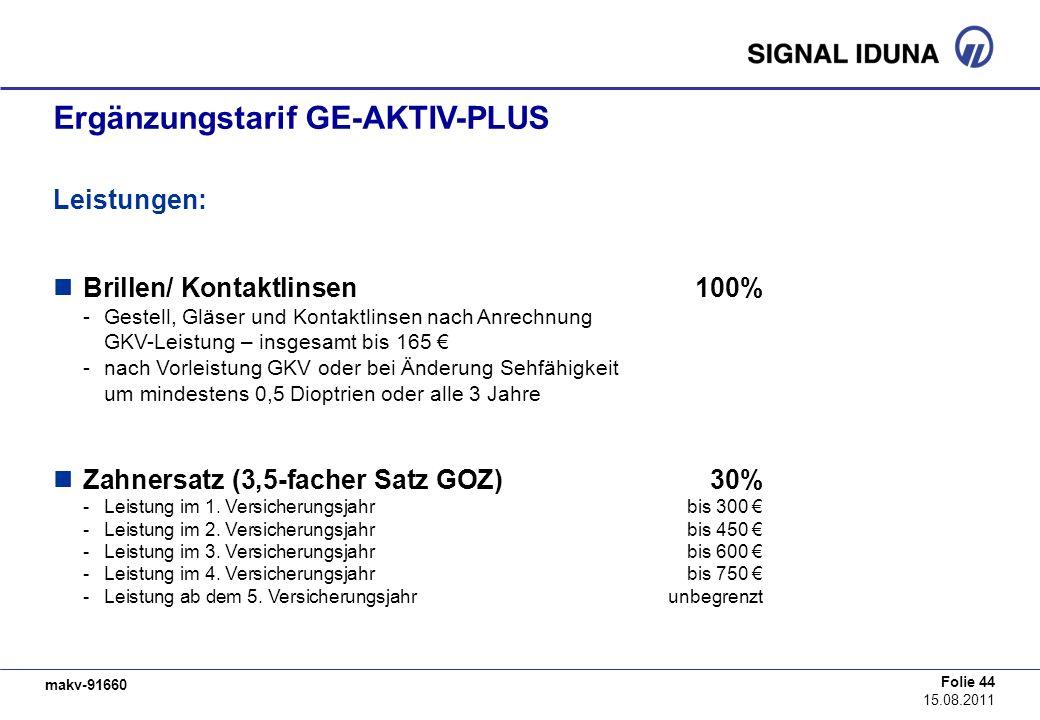 makv-91660 Folie 44 15.08.2011 Ergänzungstarif GE-AKTIV-PLUS Leistungen: Brillen/ Kontaktlinsen100% -Gestell, Gläser und Kontaktlinsen nach Anrechnung