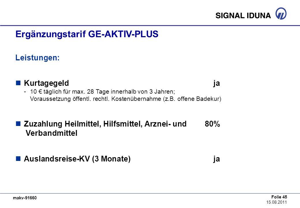 makv-91660 Folie 45 15.08.2011 Ergänzungstarif GE-AKTIV-PLUS Leistungen: Kurtagegeldja -10 täglich für max. 28 Tage innerhalb von 3 Jahren; Voraussetz