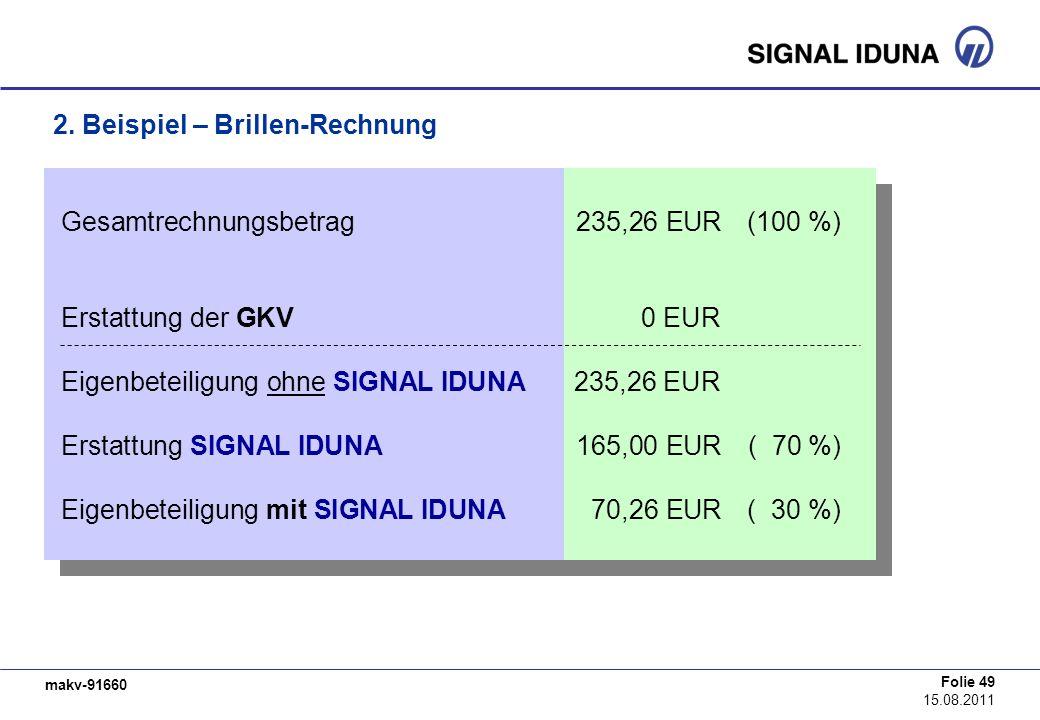 makv-91660 Folie 49 15.08.2011 Gesamtrechnungsbetrag235,26 EUR(100 %) Erstattung der GKV0 EUR Eigenbeteiligung ohne SIGNAL IDUNA235,26 EUR Erstattung