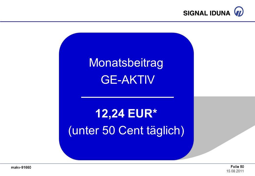makv-91660 Folie 50 15.08.2011 Monatsbeitrag GE-AKTIV 12,24 EUR* (unter 50 Cent täglich)