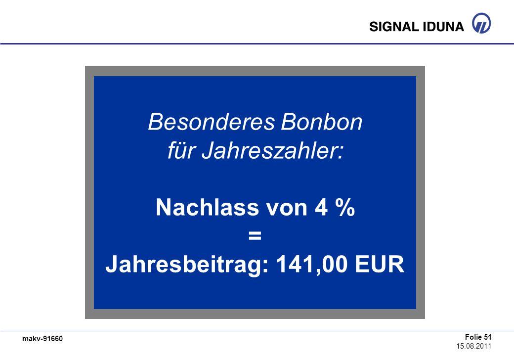 makv-91660 Folie 51 15.08.2011 Besonderes Bonbon für Jahreszahler: Nachlass von 4 % = Jahresbeitrag: 141,00 EUR