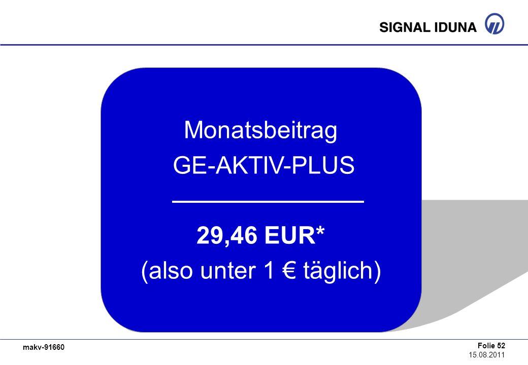makv-91660 Folie 52 15.08.2011 Monatsbeitrag GE-AKTIV-PLUS 29,46 EUR* (also unter 1 täglich)