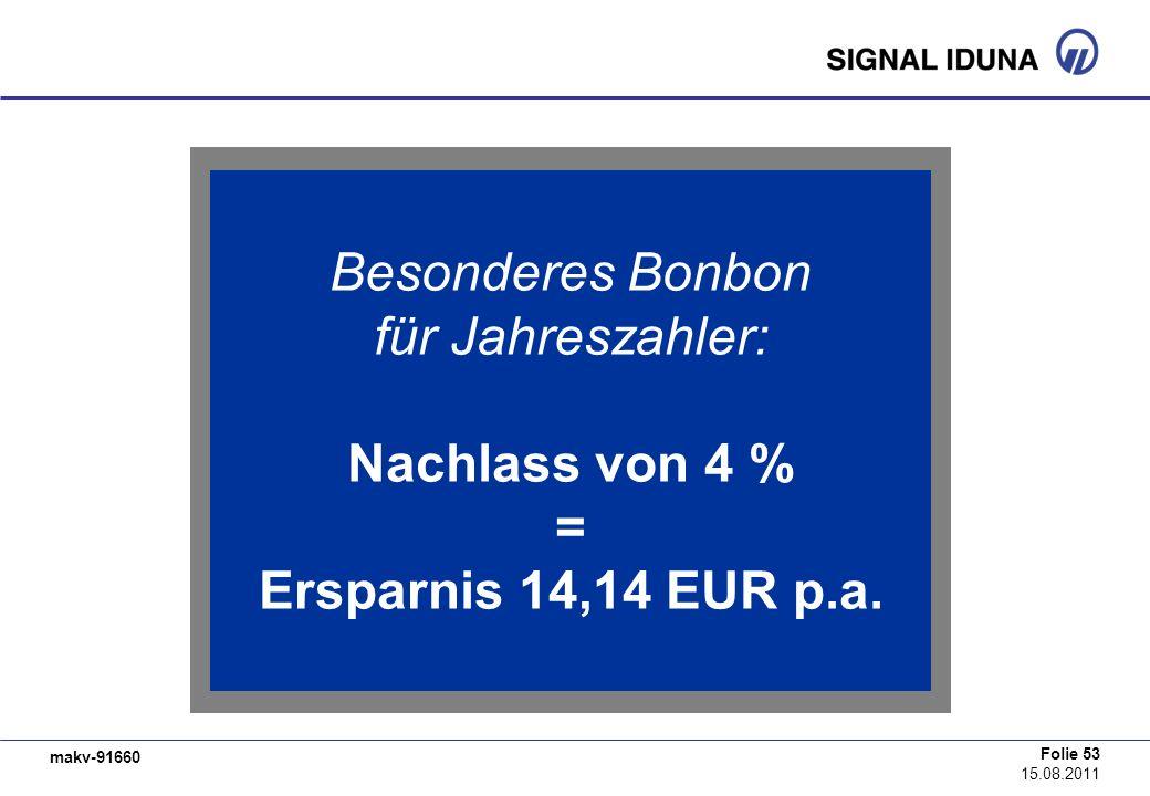 makv-91660 Folie 53 15.08.2011 Besonderes Bonbon für Jahreszahler: Nachlass von 4 % = Ersparnis 14,14 EUR p.a.