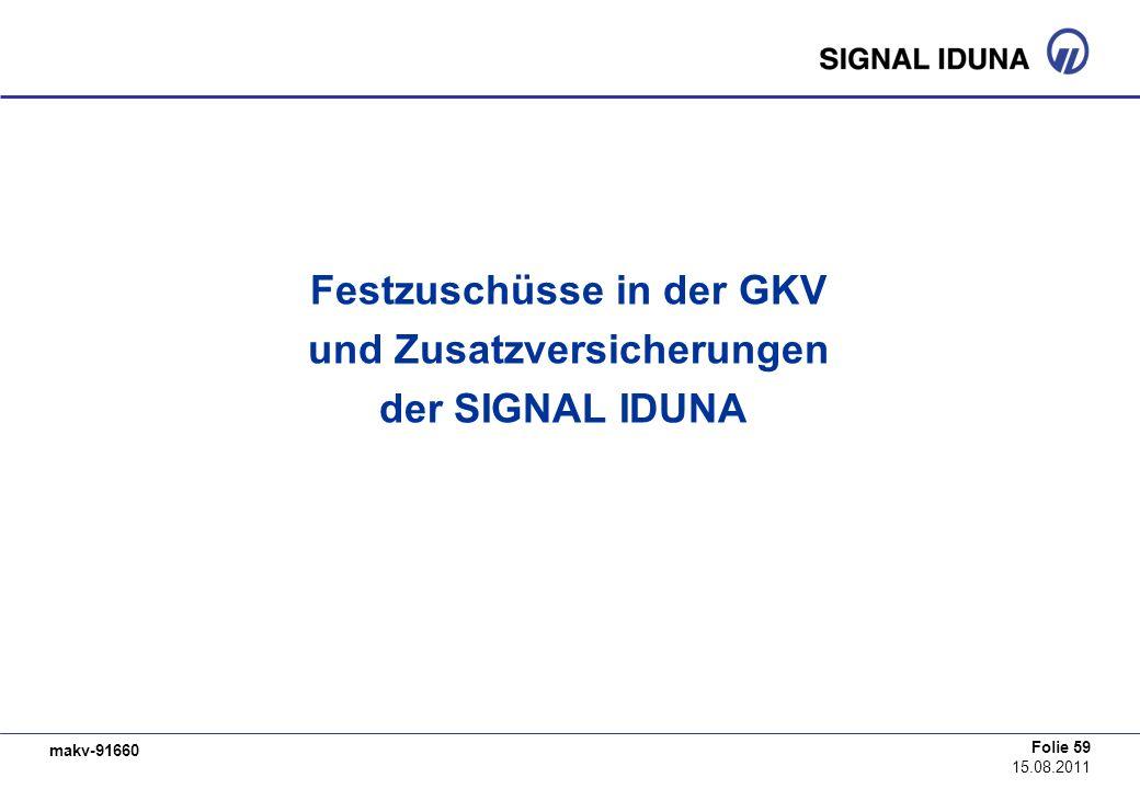 makv-91660 Folie 59 15.08.2011 Festzuschüsse in der GKV und Zusatzversicherungen der SIGNAL IDUNA