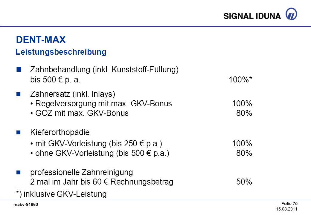 makv-91660 Folie 75 15.08.2011 Zahnbehandlung (inkl. Kunststoff-Füllung) bis 500 p. a. 100%* Zahnersatz (inkl. Inlays) Regelversorgung mit max. GKV-Bo