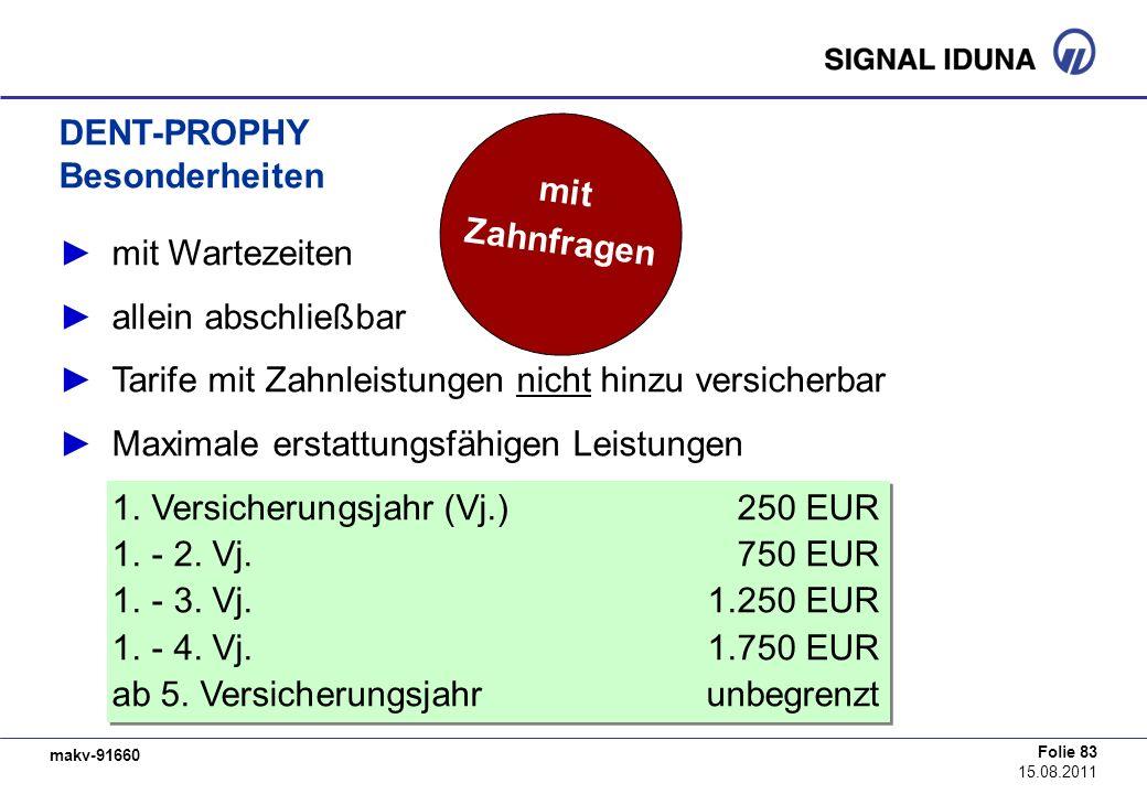makv-91660 Folie 83 15.08.2011 DENT-PROPHY Besonderheiten mit Wartezeiten allein abschließbar Tarife mit Zahnleistungen nicht hinzu versicherbar Maxim