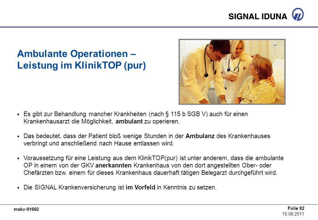 makv-91660 Folie 92 15.08.2011 Ambulante Operationen – Leistung im KlinikTOP (pur) Es gibt zur Behandlung mancher Krankheiten (nach § 115 b SGB V) auc