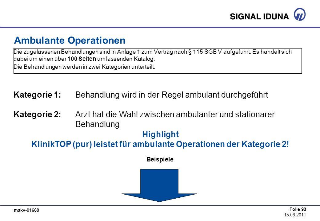 makv-91660 Folie 93 15.08.2011 Die zugelassenen Behandlungen sind in Anlage 1 zum Vertrag nach § 115 SGB V aufgeführt. Es handelt sich dabei um einen