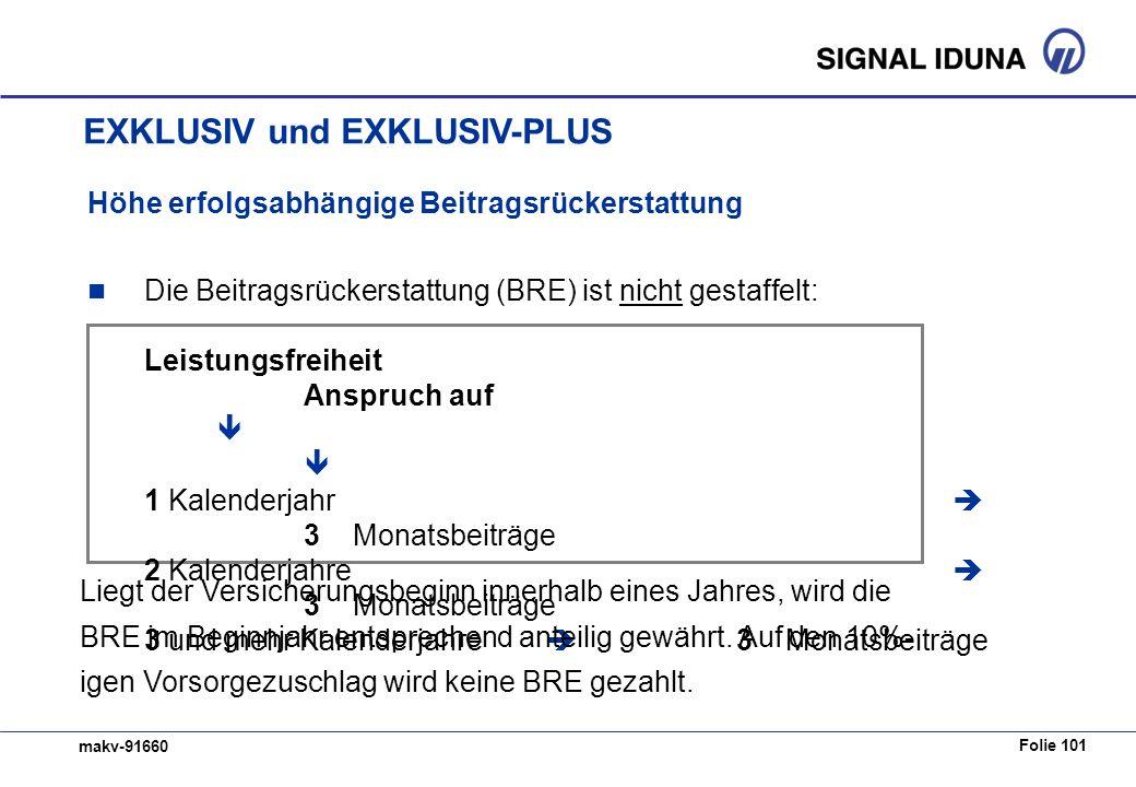 Folie 101 makv-91660 Höhe erfolgsabhängige Beitragsrückerstattung Die Beitragsrückerstattung (BRE) ist nicht gestaffelt: Leistungsfreiheit Anspruch au