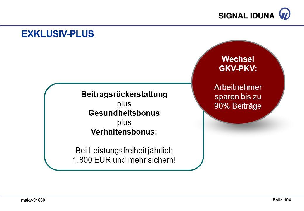 Folie 104 makv-91660 Beitragsrückerstattung plus Gesundheitsbonus plus Verhaltensbonus: Bei Leistungsfreiheit jährlich 1.800 EUR und mehr sichern.