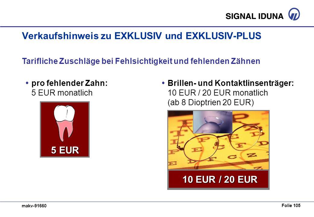 Folie 105 makv-91660 Verkaufshinweis zu EXKLUSIV und EXKLUSIV-PLUS Tarifliche Zuschläge bei Fehlsichtigkeit und fehlenden Zähnen pro fehlender Zahn: 5 EUR monatlich 5 EUR / 10 EUR 5 EUR Brillen- und Kontaktlinsenträger: 10 EUR / 20 EUR monatlich (ab 8 Dioptrien 20 EUR) 10 EUR / 20 EUR 10 EUR / 20 EUR