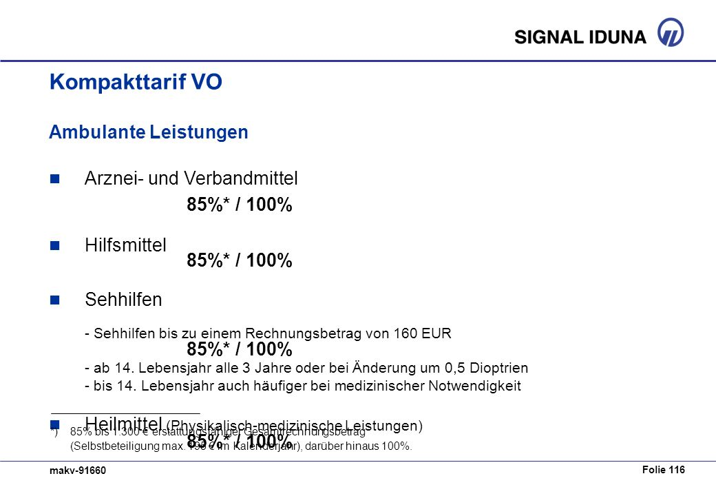 Folie 116 makv-91660 Ambulante Leistungen Arznei- und Verbandmittel 85%* / 100% Hilfsmittel 85%* / 100% Sehhilfen - Sehhilfen bis zu einem Rechnungsbe