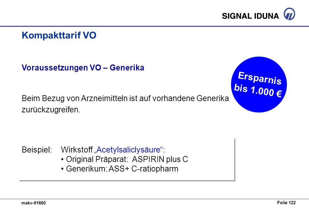 Folie 122 makv-91660 Beispiel:Wirkstoff Acetylsaliclysäure: Original Präparat: ASPIRIN plus C Generikum: ASS+ C-ratiopharm Voraussetzungen VO – Generika Beim Bezug von Arzneimitteln ist auf vorhandene Generika zurückzugreifen.