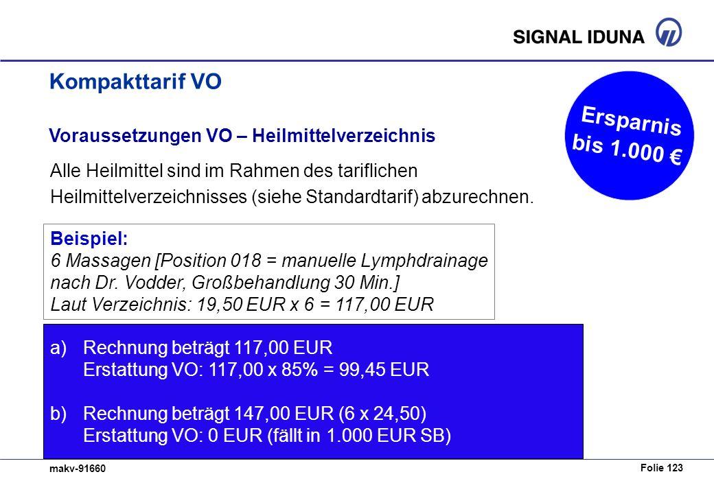Folie 123 makv-91660 Voraussetzungen VO – Heilmittelverzeichnis Alle Heilmittel sind im Rahmen des tariflichen Heilmittelverzeichnisses (siehe Standardtarif) abzurechnen.
