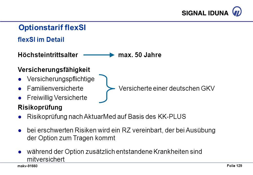 Folie 129 makv-91660 flexSI im Detail Höchsteintrittsalter max. 50 Jahre Versicherungsfähigkeit Versicherungspflichtige FamilienversicherteVersicherte