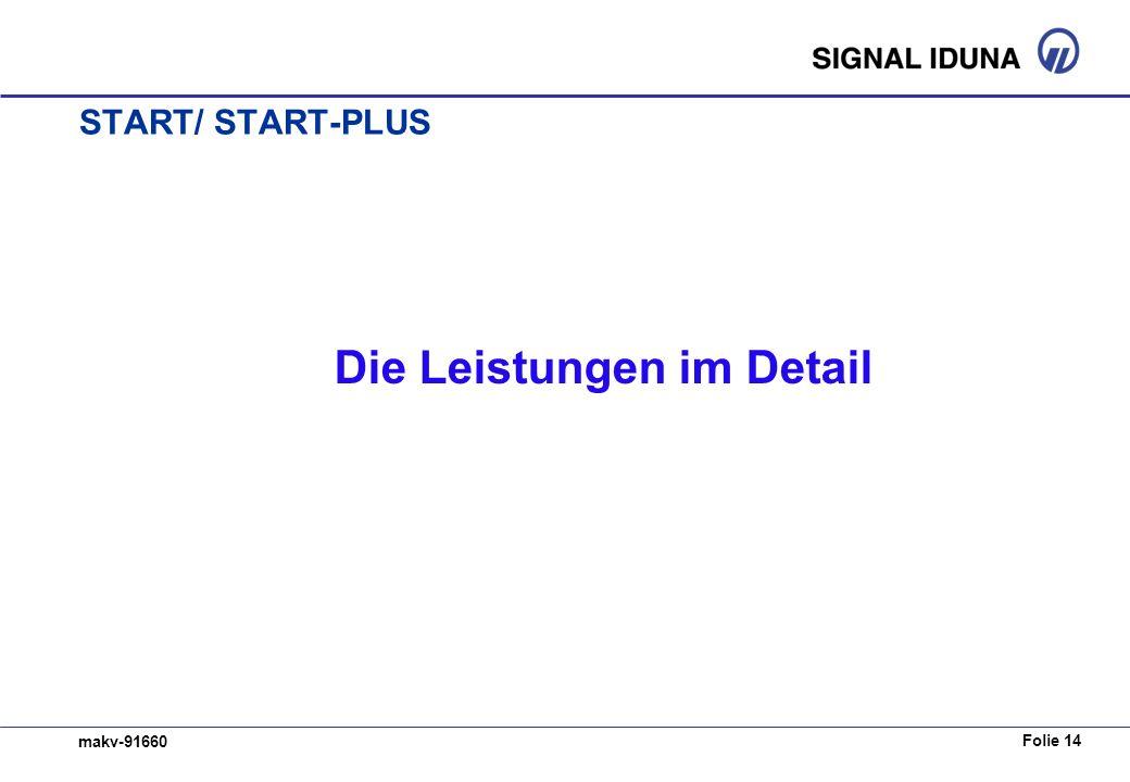 Folie 14 makv-91660 START/ START-PLUS Die Leistungen im Detail