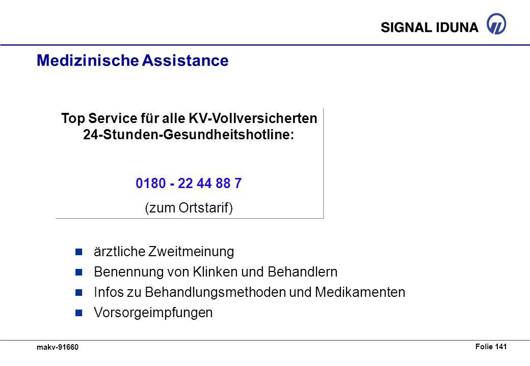 Folie 141 makv-91660 Medizinische Assistance Top Service für alle KV-Vollversicherten 24-Stunden-Gesundheitshotline: 0180 - 22 44 88 7 (zum Ortstarif)