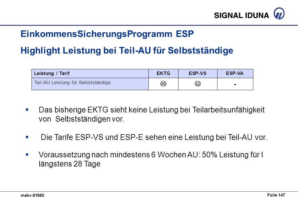 Folie 147 makv-91660 EinkommensSicherungsProgramm ESP Highlight Leistung bei Teil-AU für Selbstständige Das bisherige EKTG sieht keine Leistung bei Teilarbeitsunfähigkeit von Selbstständigen vor.