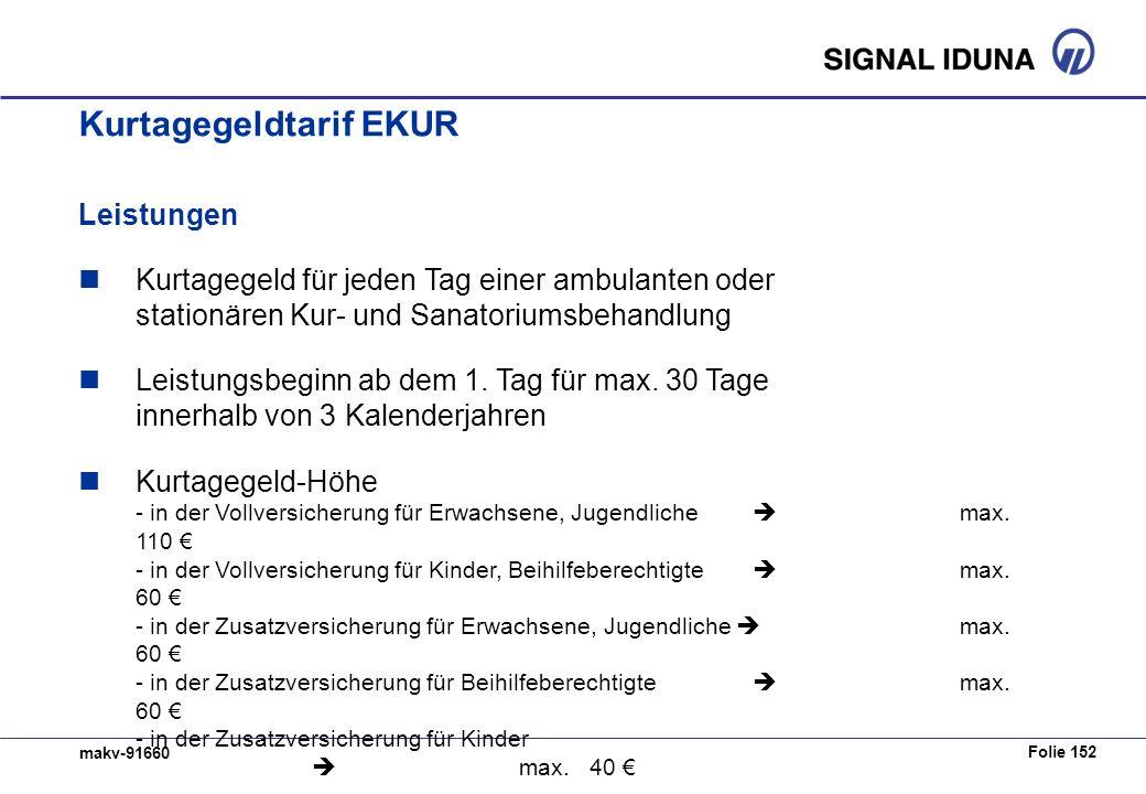 Folie 152 makv-91660 Kurtagegeldtarif EKUR Leistungen Kurtagegeld für jeden Tag einer ambulanten oder stationären Kur- und Sanatoriumsbehandlung Leistungsbeginn ab dem 1.
