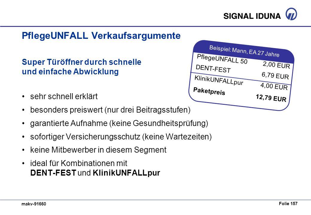 Folie 157 makv-91660 PflegeUNFALL Verkaufsargumente Super Türöffner durch schnelle und einfache Abwicklung sehr schnell erklärt besonders preiswert (n