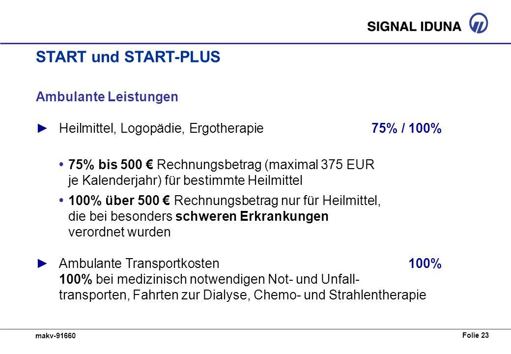 Folie 23 makv-91660 Ambulante Leistungen Heilmittel, Logopädie, Ergotherapie75% / 100% 75% bis 500 Rechnungsbetrag (maximal 375 EUR je Kalenderjahr) f