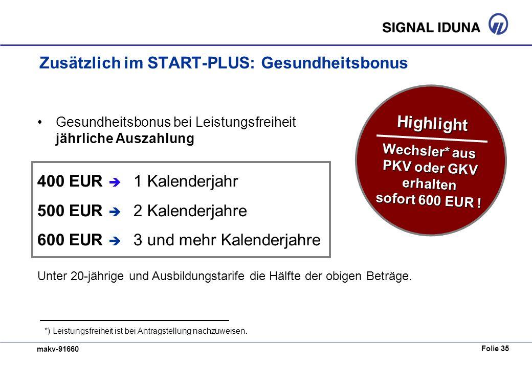 Folie 35 makv-91660 Zusätzlich im START-PLUS: Gesundheitsbonus Gesundheitsbonus bei Leistungsfreiheit jährliche Auszahlung 400 EUR 1 Kalenderjahr 500