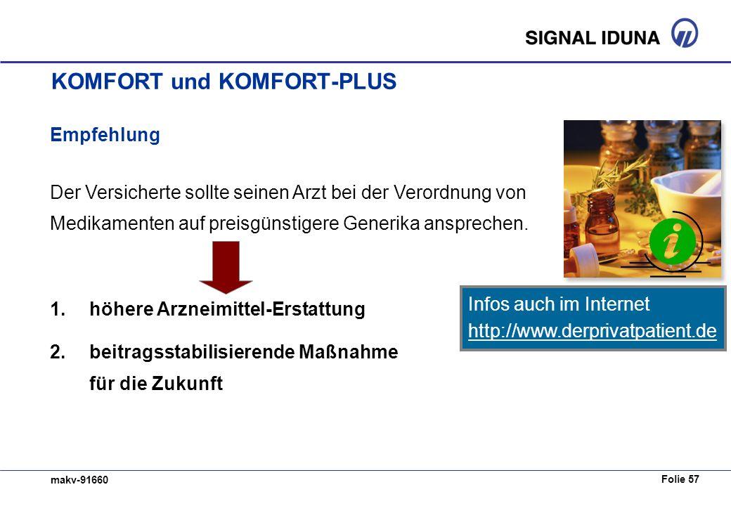 Folie 57 makv-91660 Empfehlung Der Versicherte sollte seinen Arzt bei der Verordnung von Medikamenten auf preisgünstigere Generika ansprechen. 1. höhe