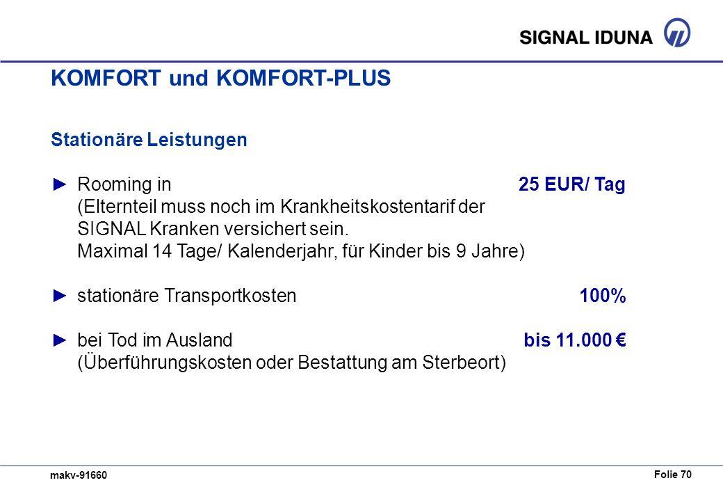 Folie 70 makv-91660 Stationäre Leistungen Rooming in25 EUR/ Tag (Elternteil muss noch im Krankheitskostentarif der SIGNAL Kranken versichert sein. Max