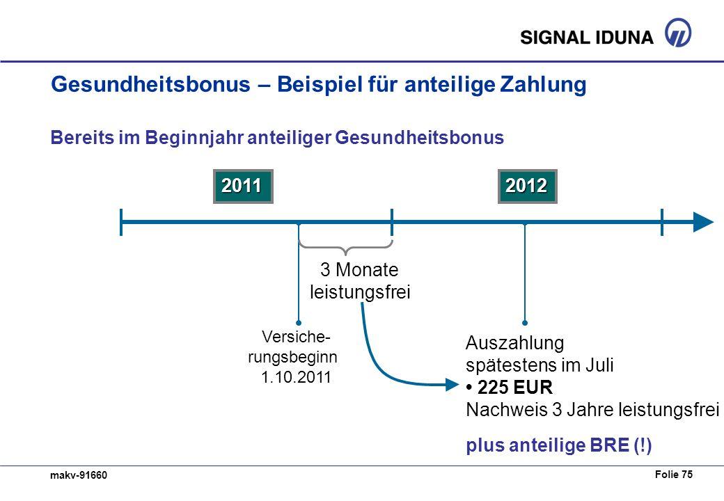 Folie 75 makv-91660 Gesundheitsbonus – Beispiel für anteilige Zahlung Bereits im Beginnjahr anteiliger Gesundheitsbonus 20112012 Versiche- rungsbeginn