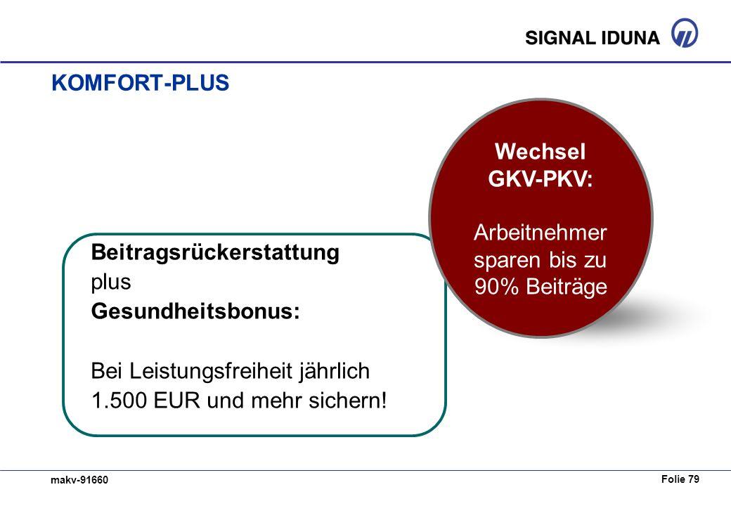 Folie 79 makv-91660 KOMFORT-PLUS Beitragsrückerstattung plus Gesundheitsbonus: Bei Leistungsfreiheit jährlich 1.500 EUR und mehr sichern.