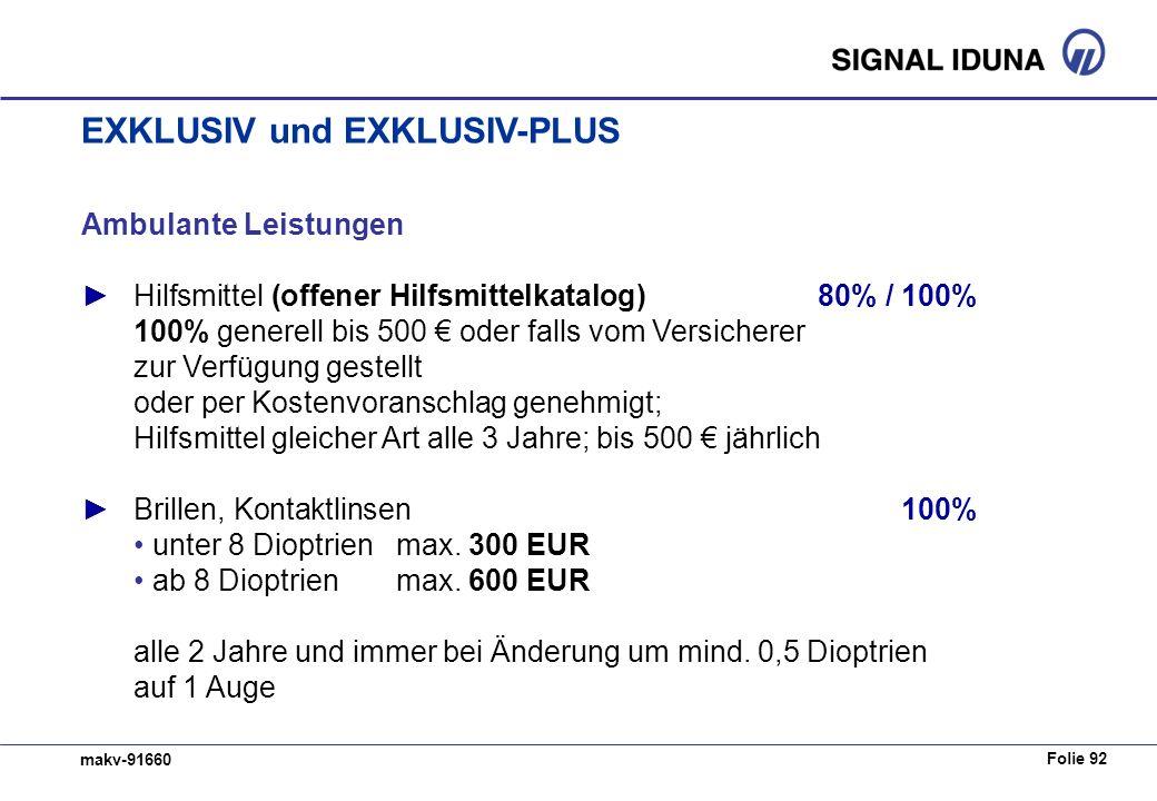 Folie 92 makv-91660 Ambulante Leistungen Hilfsmittel (offener Hilfsmittelkatalog) 80% / 100% 100% generell bis 500 oder falls vom Versicherer zur Verf