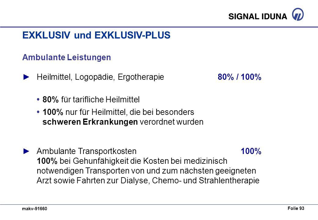 Folie 93 makv-91660 Ambulante Leistungen Heilmittel, Logopädie, Ergotherapie80% / 100% 80% für tarifliche Heilmittel 100% nur für Heilmittel, die bei