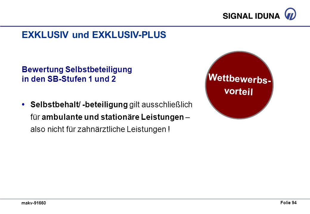 Folie 94 makv-91660 Bewertung Selbstbeteiligung in den SB-Stufen 1 und 2 Selbstbehalt/ -beteiligung gilt ausschließlich für ambulante und stationäre Leistungen – also nicht für zahnärztliche Leistungen .