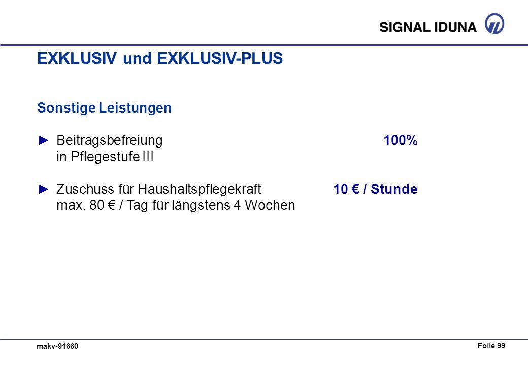 Folie 99 makv-91660 Sonstige Leistungen Beitragsbefreiung100% in Pflegestufe III Zuschuss für Haushaltspflegekraft10 / Stunde max.