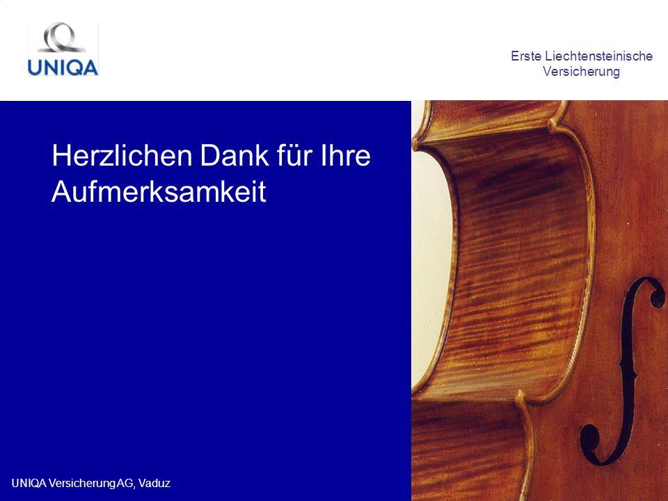 UNIQA Versicherung AG, Vaduz Herzlichen Dank für Ihre Aufmerksamkeit Erste Liechtensteinische Versicherung