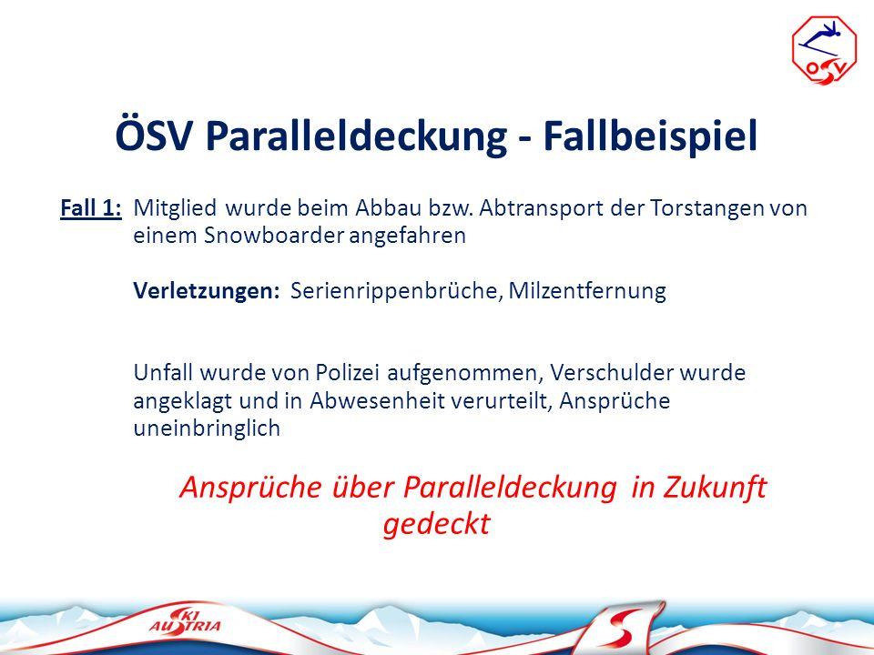 ÖSV Paralleldeckung - Fallbeispiel Fall 1: Mitglied wurde beim Abbau bzw. Abtransport der Torstangen von einem Snowboarder angefahren Verletzungen: Se