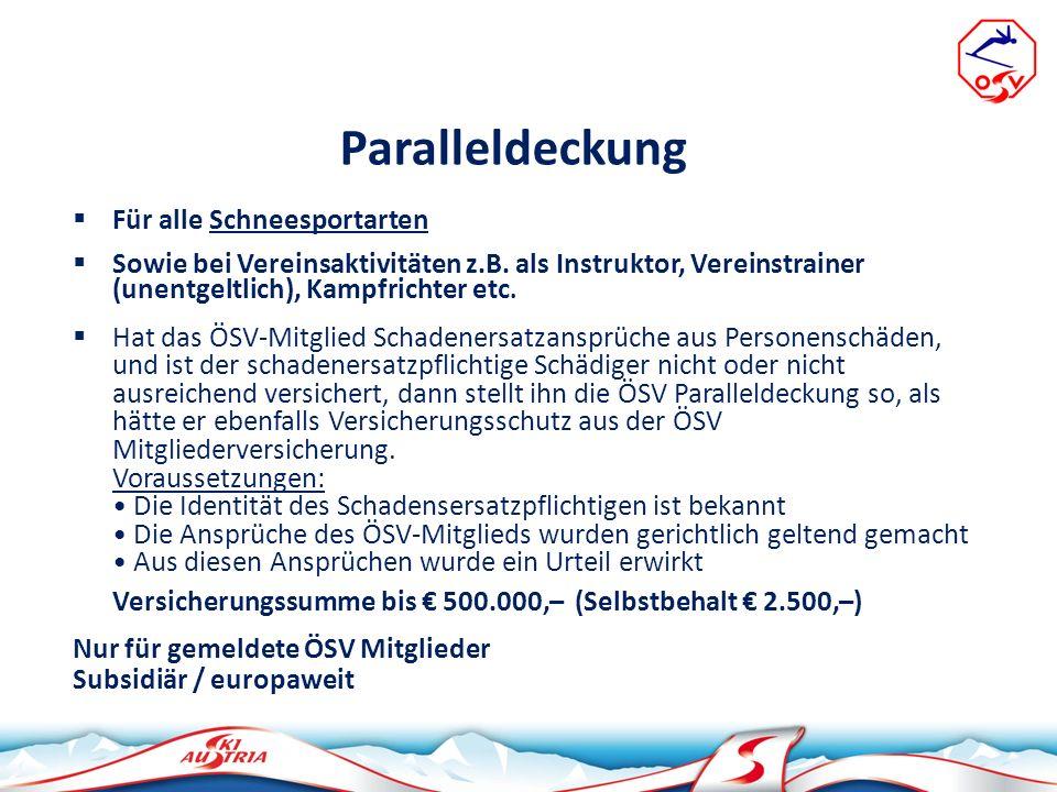 ÖSV Mitglieder - Rechtsschutzversicherung Für alle Schneesportarten Sowie bei Vereinsaktivitäten z.B.