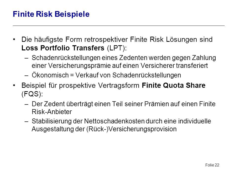 Folie 22 Finite Risk Beispiele Die häufigste Form retrospektiver Finite Risk Lösungen sind Loss Portfolio Transfers (LPT): –Schadenrückstellungen eine
