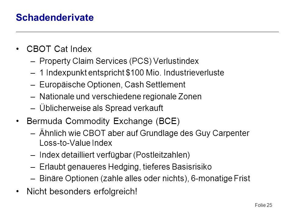 Folie 25 Schadenderivate CBOT Cat Index –Property Claim Services (PCS) Verlustindex –1 Indexpunkt entspricht $100 Mio. Industrieverluste –Europäische
