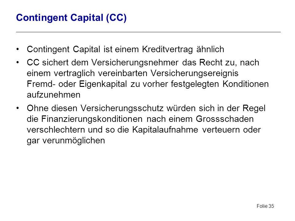 Folie 35 Contingent Capital (CC) Contingent Capital ist einem Kreditvertrag ähnlich CC sichert dem Versicherungsnehmer das Recht zu, nach einem vertra