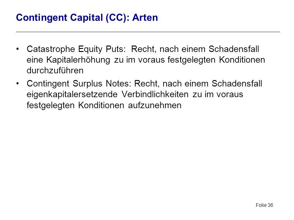 Folie 36 Contingent Capital (CC): Arten Catastrophe Equity Puts: Recht, nach einem Schadensfall eine Kapitalerhöhung zu im voraus festgelegten Konditi