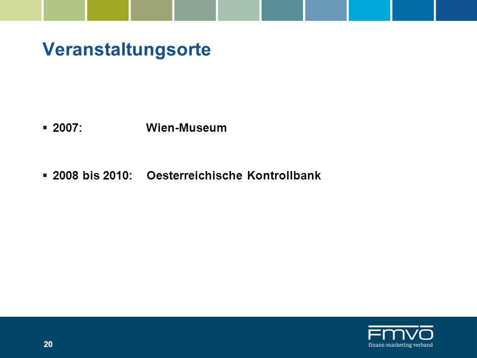 Veranstaltungsorte 2007: Wien-Museum 2008 bis 2010: Oesterreichische Kontrollbank 20